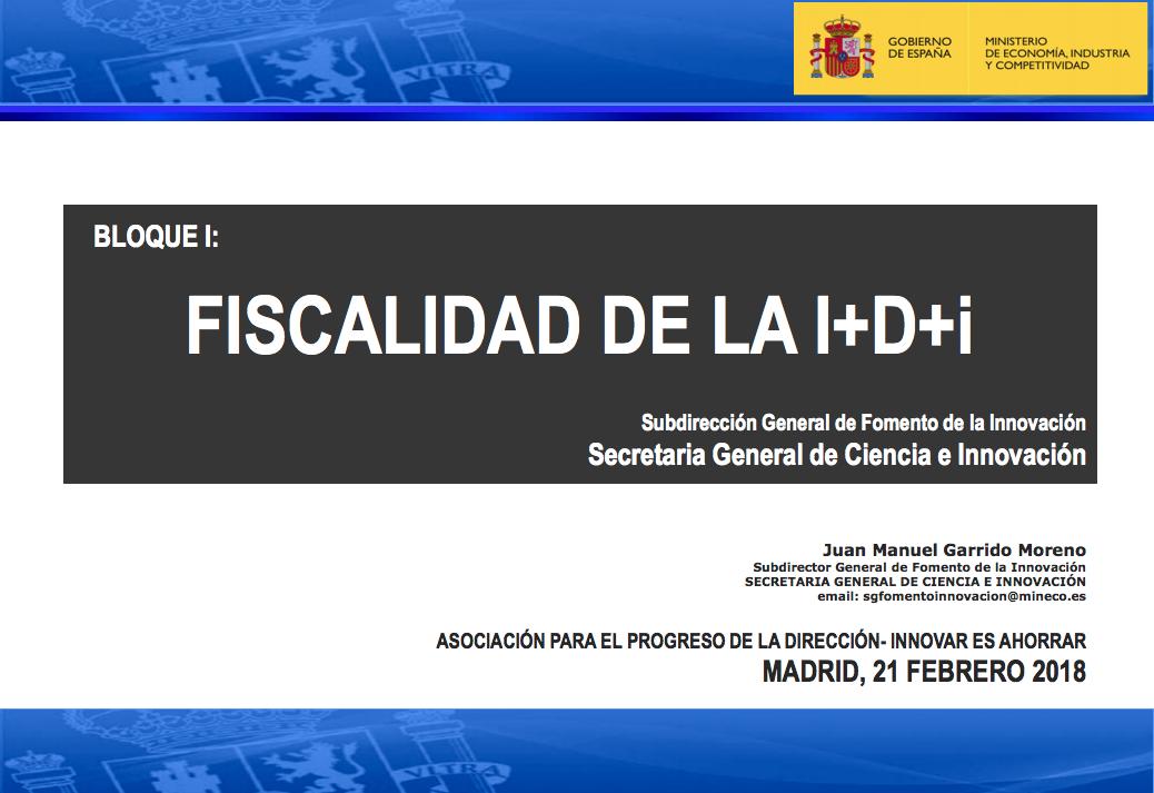 FISCALIDAD DE LA I+D+i
